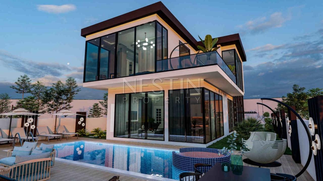 Дизайнерская вилла 3+1 с видом на море в Каргыджаке